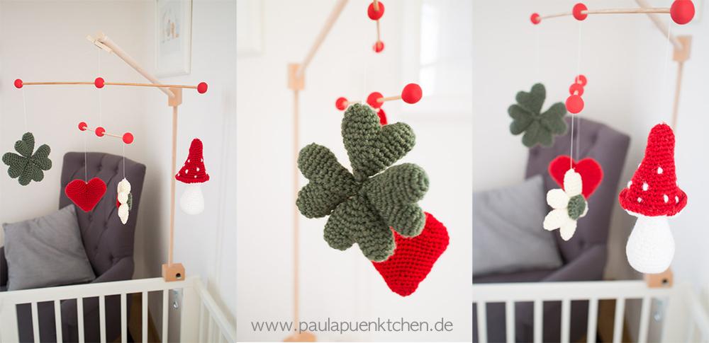 Gehäkeltes Baby-Mobile mit Pilz und Kleeblatt - www.paulapuenktchen.de