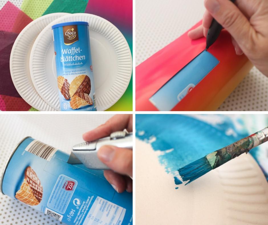 Anleitung Laterne basteln mit Papptellern