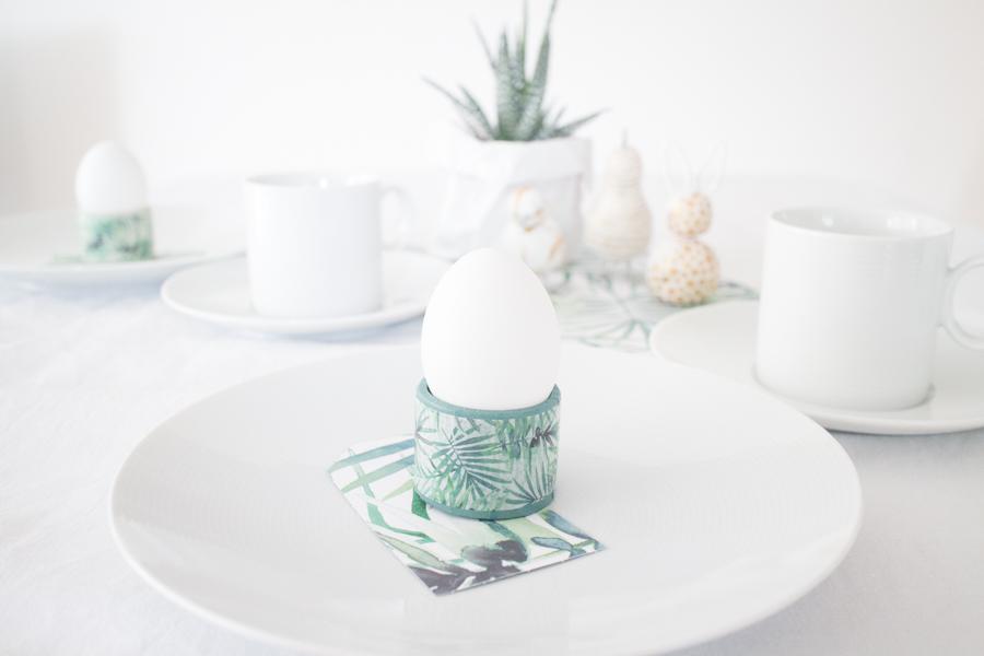 Eierbecher basteln mit Dekoklebeband